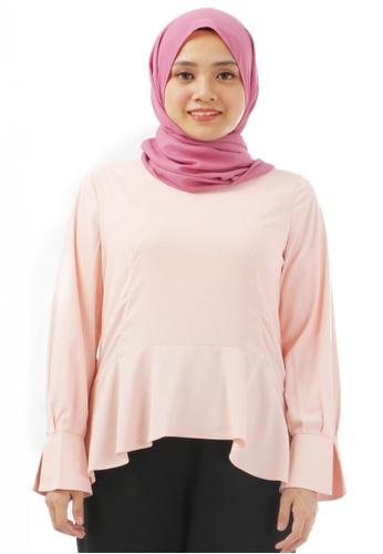 KAMDAR pink Axelle Satin Blouse-Peach 2C5C5AAC7E33C6GS_1