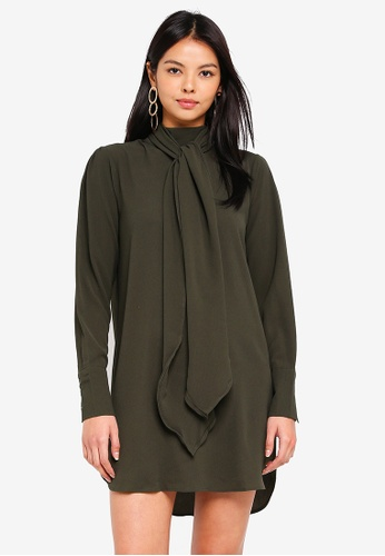 Vero Moda green Eclipse High Neck Tie Dress 877FCAAD7C0E7DGS_1