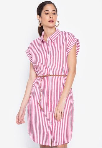 Graygoods red Maya Shirt Dress With Braided Belt 6BE12AA0787159GS_1
