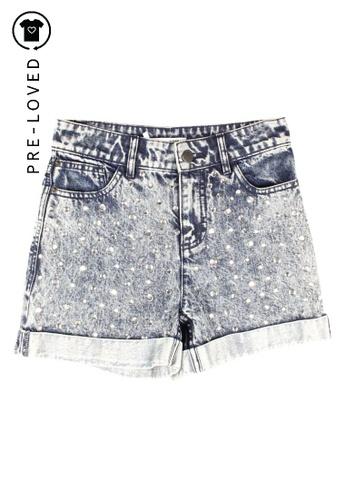Alice + Olivia blue alice + olivia Denim Shorts With Stones 65EA9AAD800C36GS_1