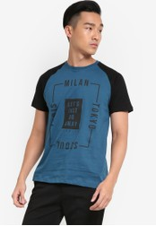 Fidelio blue Lets Just Go Away Printed Contrast Sleeves Tee FI826AA79NUQMY_1