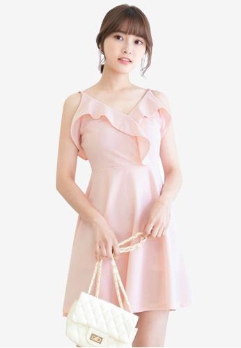 Tokichoi pink Spaghetti Strap Flounce Dress F4CD1AA89EC547GS_1