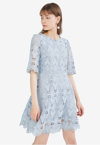 Hopeshow blue Guipure Lace Dress 6DA4AAAEF78EA4GS_1