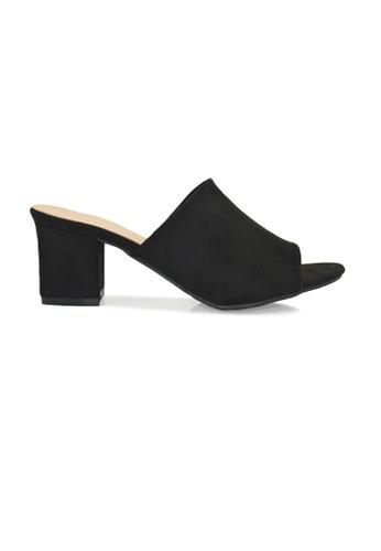 SHINE black Peep Toe Low Heel Mules SH554SH0FDK2SG_1