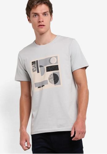 ZALORA grey Abstract Geometric Placement Tee 339CBAA8724D16GS_1
