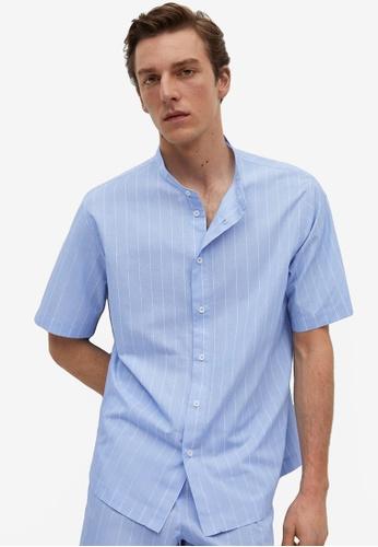 MANGO Man blue Striped Cotton Pijama Shirt 388ADAA83F9449GS_1