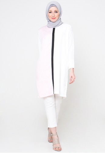 Cullotes Mathis White Combi Pink Tunic