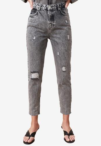 Trendyol grey Denim Wash High Waist Mom Jeans 433A6AAA6C4D33GS_1