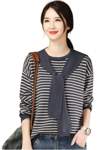 A-IN GIRLS 海軍藍色 休閒條紋圓領針織衫(含披肩) AB929AADDEECA7GS_1