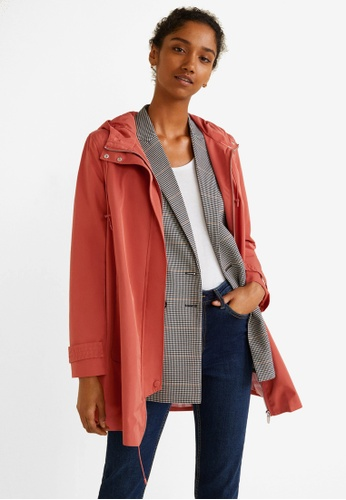 Mango pink Hooded Water-Repellent Parka CACAEAA854B603GS_1