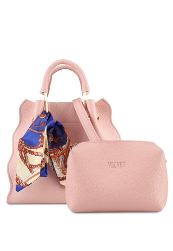 Velvet pink Scallop Tote With Scarf 9197DAC9CC143CGS_1