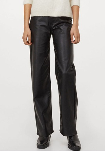 H&M black Imitation Leather Trousers 583A9AA47AB452GS_1