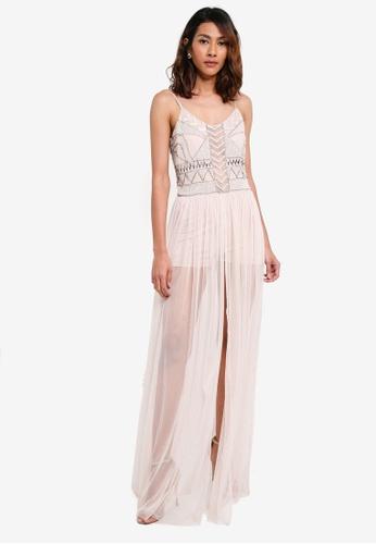 Lace & Beads beige Irina Maxi Dress 47BA5AA18B92EFGS_1