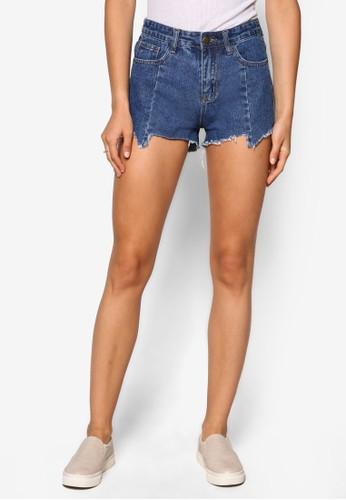 zalora 評價不對稱設計下擺丹寧短褲, 服飾, 短褲