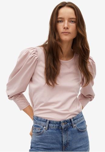 Mango pink T-Shirt With Puffed Sleeves B4904AAEEB876EGS_1