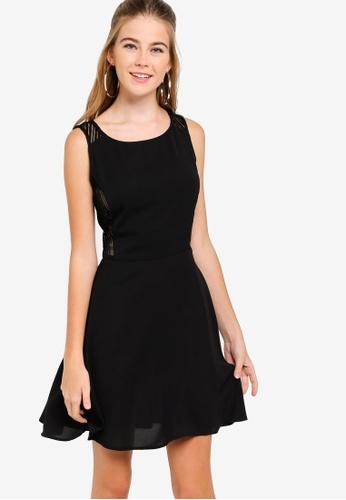 Something Borrowed black Sheer Panel Sleeveless Dress D94EBAA84A3459GS_1