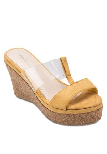 異材質拼接esprit地址木製楔形鞋, 女鞋, 楔形涼鞋
