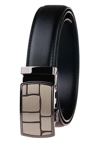 FANYU black Leather Dress Belt With Automatic Buckle 81DE1ACE18AF45GS_1