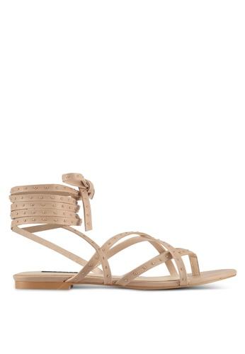 ZALORA beige Pin Stud Lace-Up Sandals BD22DSH963909BGS_1