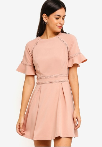 ZALORA pink Raglan Sleeves Dress With Trimming 7CB40AA5C6679EGS_1