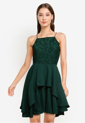 ZALORA OCCASION green Lace Bodice Fit & Flare Dress 25EF1AA98A4799GS_1