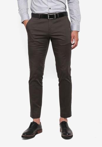 Burton Menswear London grey Dark Grey Slim Fit Sateen Trousers B8532AAC05244BGS_1