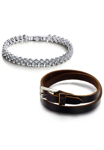 YOUNIQ silver YOUNIQ Dazzling Platinum Plated  Bracelet & Double Belt Genuine Leather Bracelet (Couple Set)-Silver & Brown YO999AC09CZUMY_1