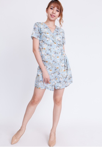 Hook Clothing green and blue and multi Floral Print Mini Wrap Dress C221DAA206441FGS_1
