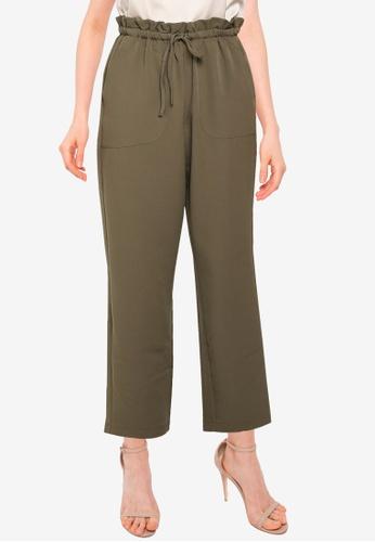 Vero Moda green Theressa High Waist Paperbag Pants 6D631AA1B98073GS_1