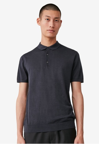 COS blue Silk Polo Shirt 3D092AA751D758GS_1