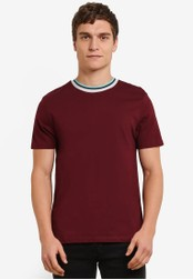 Topman red Short Sleeve Ringer T-Shirt TO413AA0S7XUMY_1