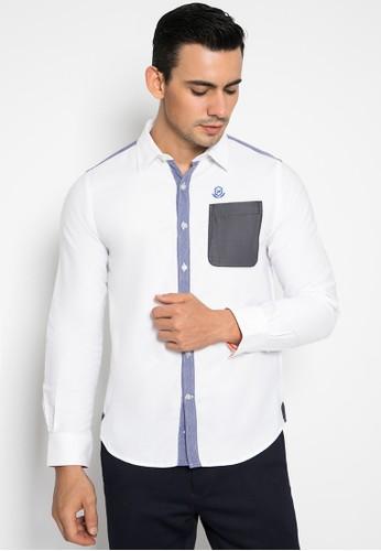 Johnwin white Slim Fit - Kemeja Casual - Lengan Panjang - Putih - Motif Polos 1AE46AAFAA9134GS_1