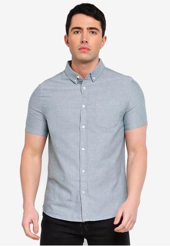 Burton Menswear London green Green Short Sleeve Oxford Shirt FC156AA6562E71GS_1