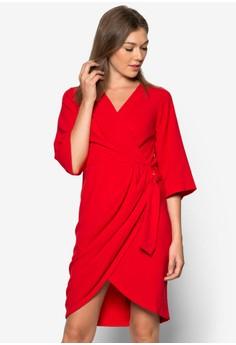 Asymmetric Hem Kimono Wrap Dress