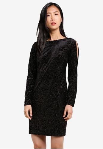 Dorothy Perkins black Velvet Glitter Bodycon Dress DO816AA0S7APMY_1