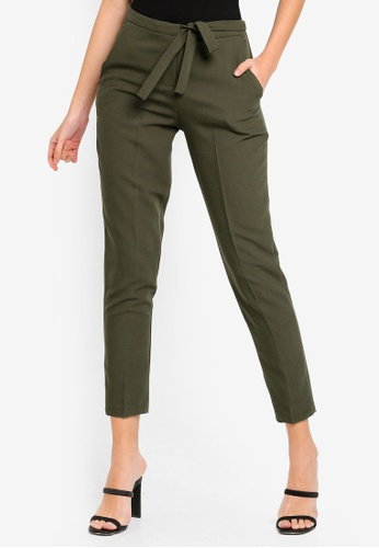 MISSGUIDED green Tie Belt Crepe High Waist Trousers 6EC20AA6D4FE42GS_1