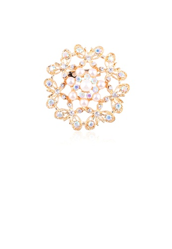 Glamorousky white Fashion and Elegant Plated Gold Butterfly Flower Imitation Pearl Brooch with Cubic Zirconia AFB5CAC325ACBBGS_1
