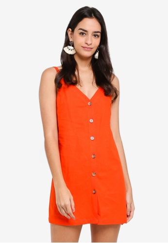 TOPSHOP red and orange V Button Mini Slip Dress FBC19AAB366119GS_1