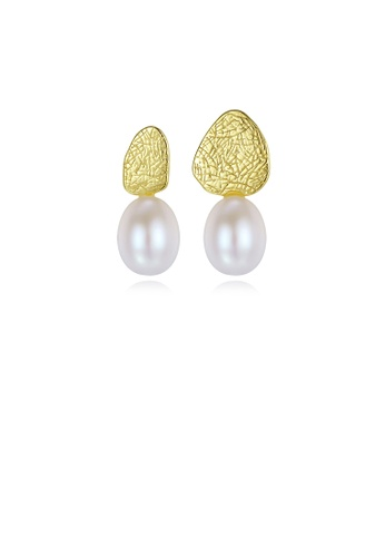 Glamorousky white 925 Sterling Silver Plated Gold Simple Fashion Geometric White Freshwater Pearl Asymmetric Earring 32C5AACB685B07GS_1