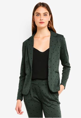ICHI green Kate Dot Blazer E7618AA803FFF6GS_1