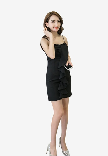 hk-ehunter black Camisole Solid Coloured A-Line Dress with Frills 58AB0AACCCDA8BGS_1