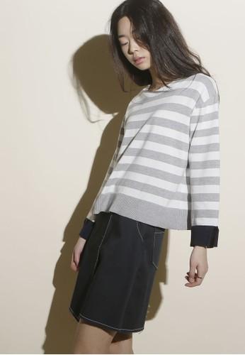 韓zalora鞋子評價系時尚條紋長袖針織上衣, 服飾, 上衣