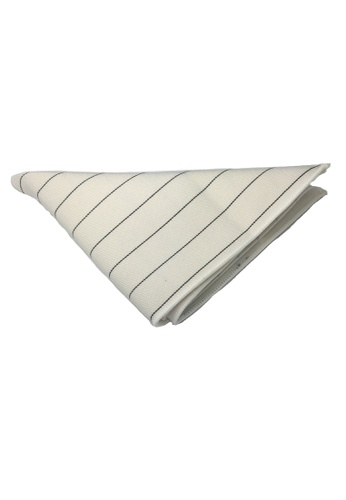 Splice Cufflinks white Bars Series Thin Black Stripes White Cotton Pocket Square   SP744AC64DLNSG_1