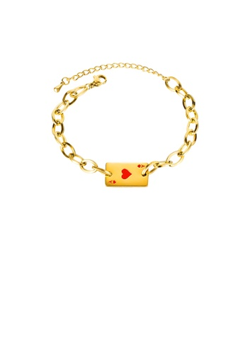 Glamorousky silver Fashion Creative Plated Gold Red Heart A Poker Card 316L Stainless Steel Bracelet 6C032AC3BBBA02GS_1
