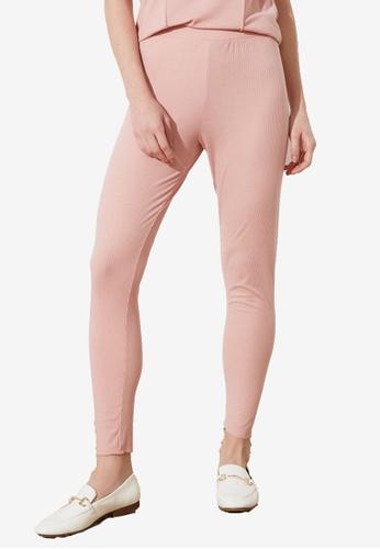 Trendyol 粉紅色 基本羅紋緊身褲 C6361AA1F28FFDGS_1