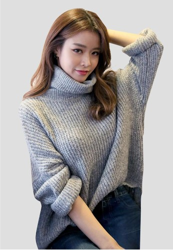 寬鬆高領針織上衣, 服飾,zalora時尚購物網評價 毛衣& 針織外套