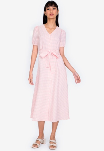 ZALORA BASICS 多色 Puff Sleeve Gingham Midi Dress 3CD85AA16248CCGS_1