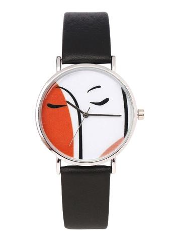 Milliot & Co. black Carol Silver PU Strap Watch 76F38ACEAED471GS_1