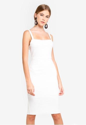 INDIKAH white Square Neck Pencil Dress 4729CAAA1408E5GS_1