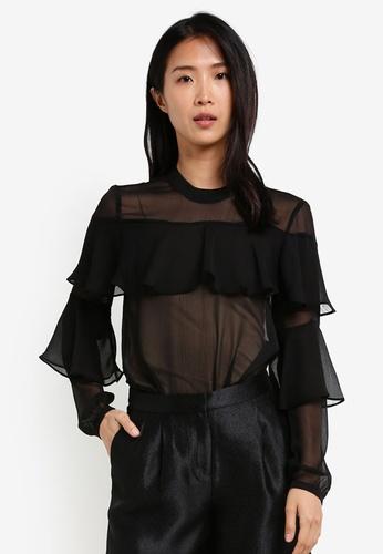 Esprit black Woven Long Sleeve Blouse ES374AA0SAXWMY_1